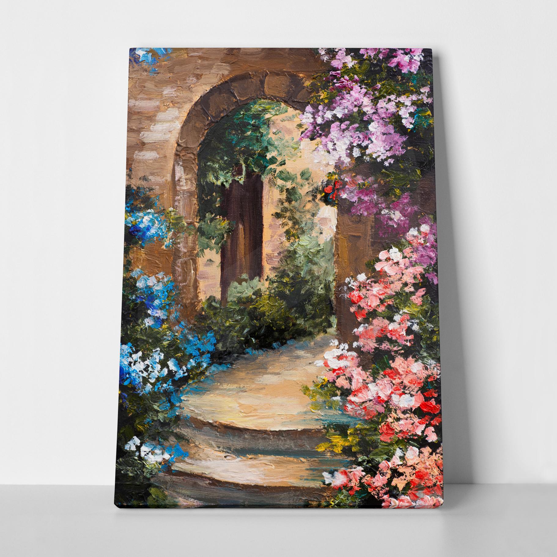 Πίνακας σε καμβά FLOWERS AROUND THE TERRACE