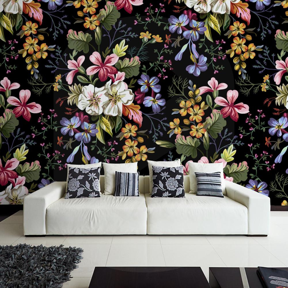 Αυτοκόλλητη Ταπετσαρία DECORATIVE FLOWERS ON BLACK