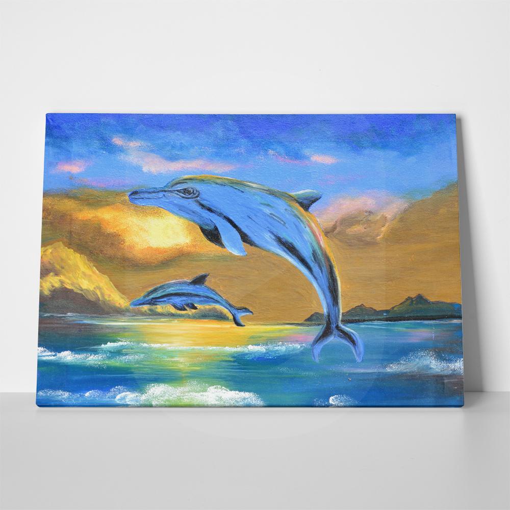 Πίνακας σε καμβά DOLPHIN IN THE SEA OIL PAINTING