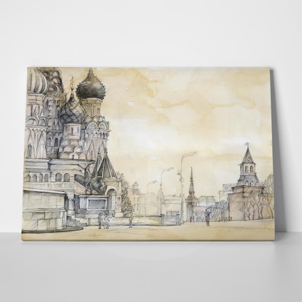 Πίνακας σε καμβά CATHEDRAL IN MOSCOW DRAWING