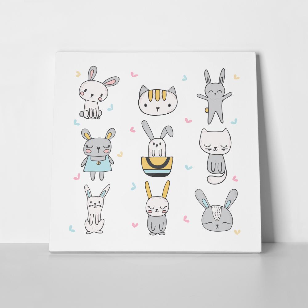 Πίνακας σε καμβά CUTE BUNNIES & CATS