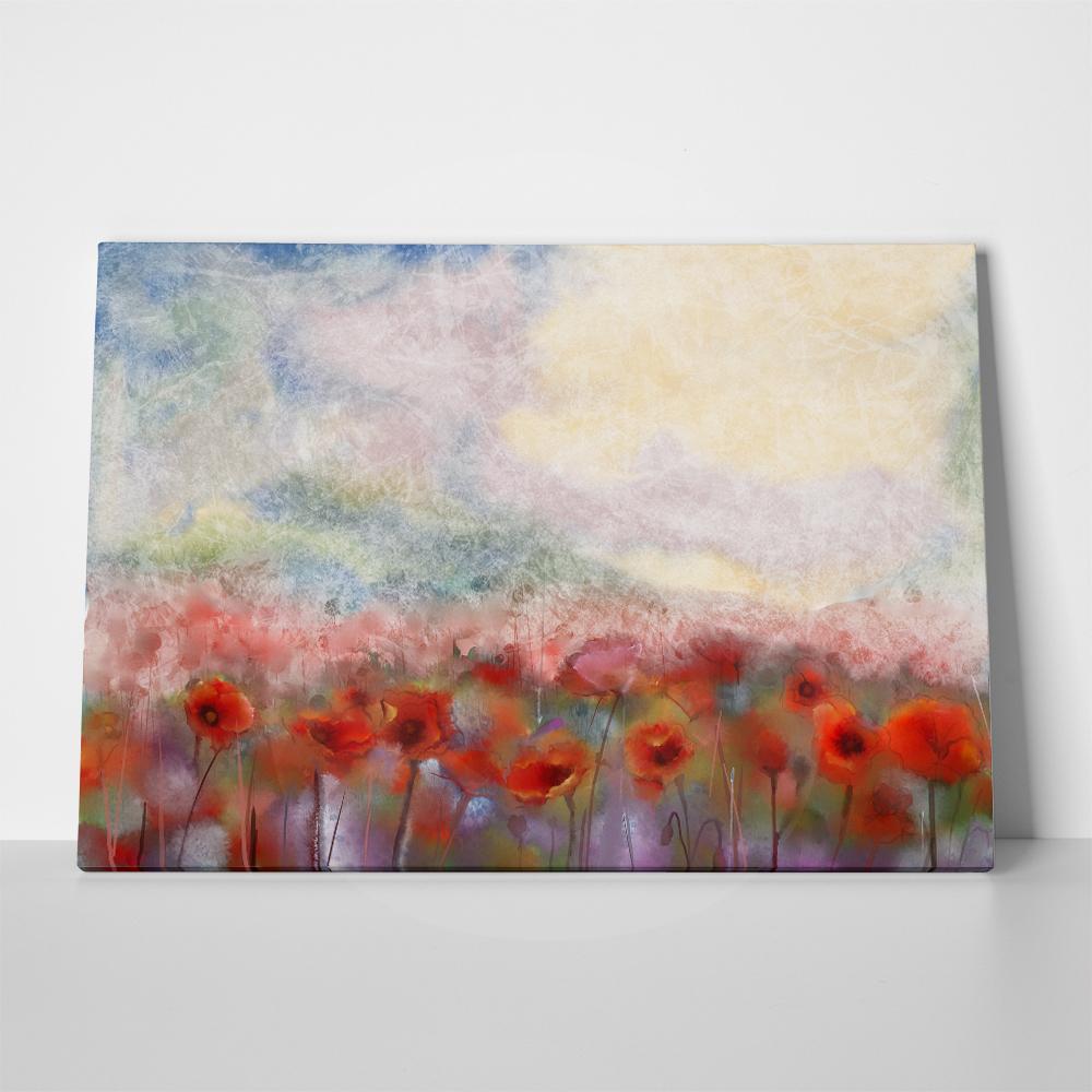 Πίνακας WATERCOLOR RED POPPY FLOWERS FILED PAINTING FLOWER