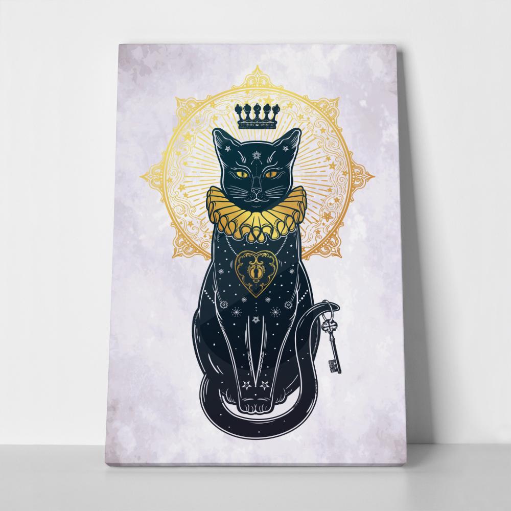 Πίνακας σε καμβά BLACK CAT SILHOUETTE PORTRAIT