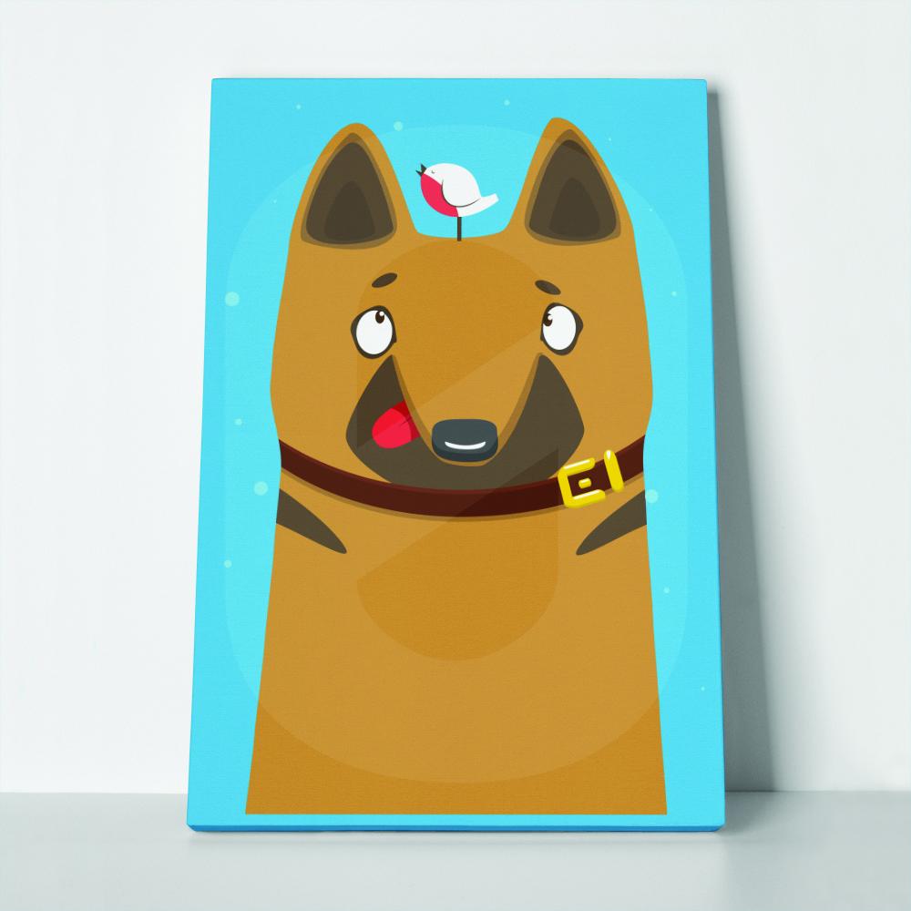 Πίνακας σε καμβά SHEPHERD DOG COLLAR LITTLE BIRD ON