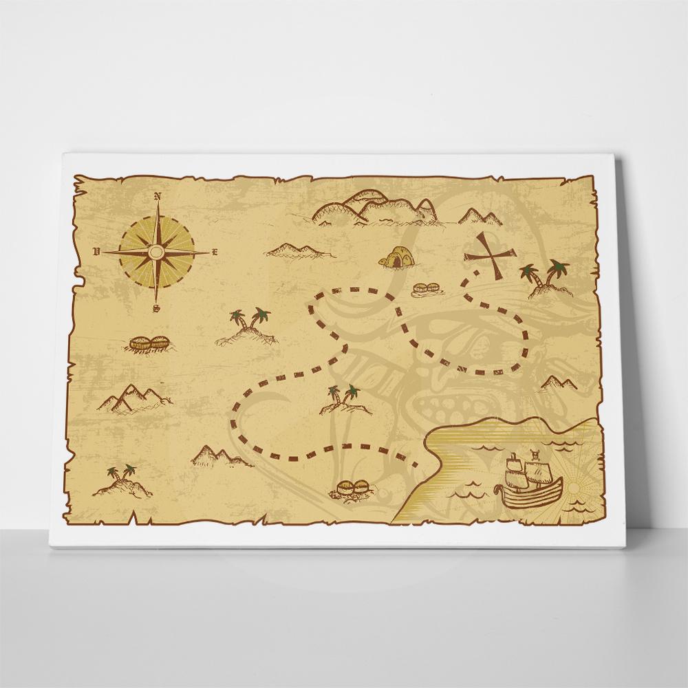 Πίνακας PIRATE MAP ILLUSTRATION