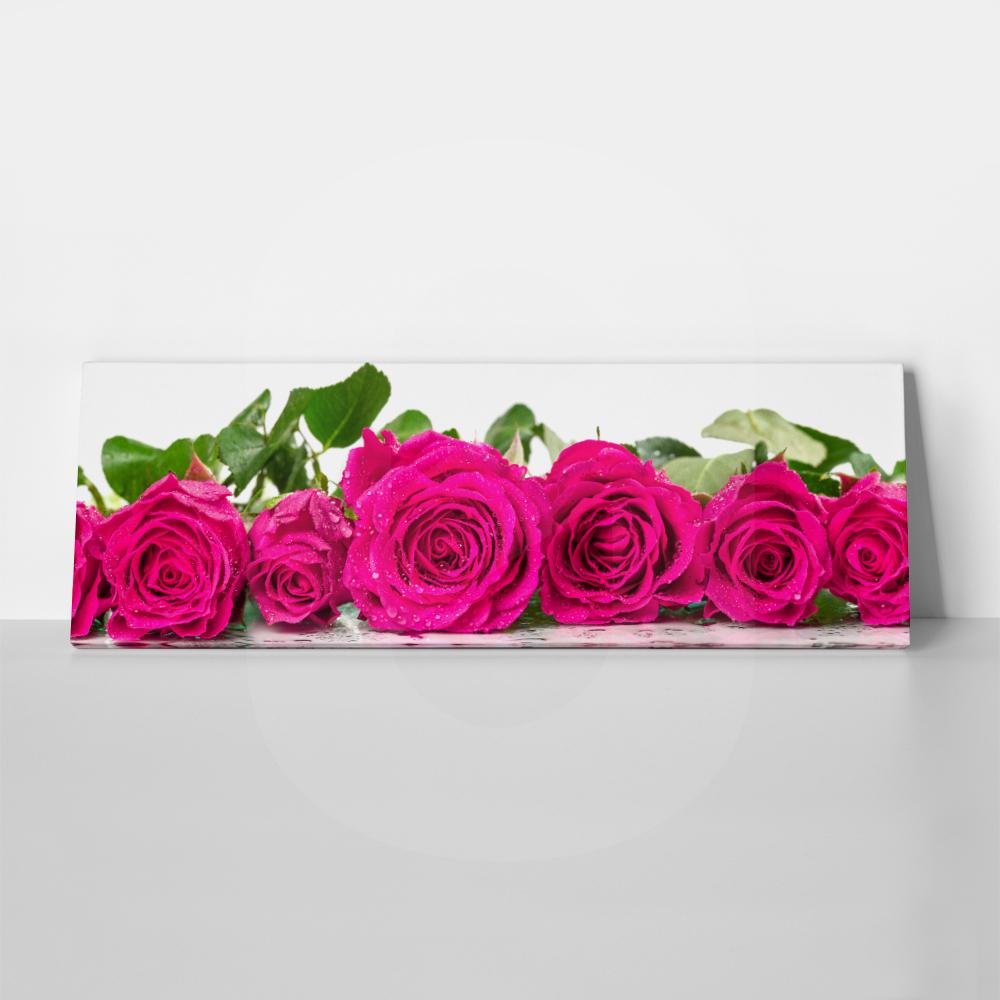 Πίνακας Πανοραμικός σε καμβά ROSES WITH DEW DROPS