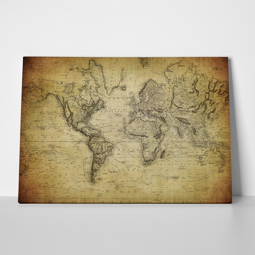 Πίνακας VINTAGE WORLD MAP1