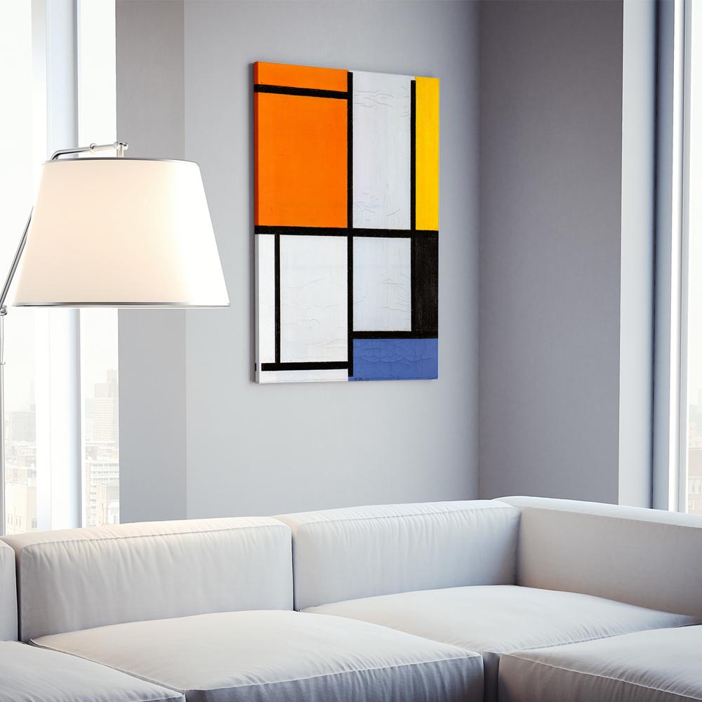 Πίνακας σε καμβά MONDRIAN - TABLEAU 3 WITH ORANGE-RED YELLOW BLACK BLUE AND GRAY