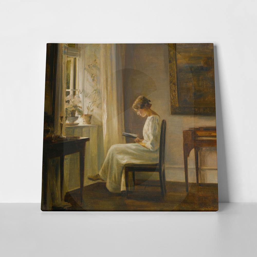 Πίνακας CARL HOLSOE INTERIOR WITH A WOMAN READING