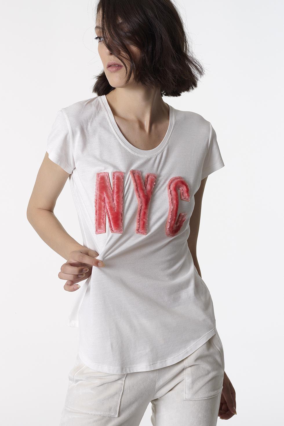 ΒΑΜΒΑΚΕΡΗ ΛΕΥΚΗ ΚΟΝΤΟΜΑΝΙΚΗ ΜΠΛΟΥΖΑ 'NYC' - ΛΕΥΚΟ ΤΟΥ ΠΑΓΟΥ