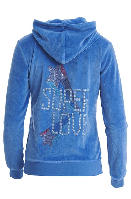 ΒΕΛΟΥΤΕ ΖΑΚΕΤΑ ΜΕ ΣΤΡΑΣ ΣΤΗΝ ΠΛΑΤΗ 'SUPER LOVE' - WHALE BLUE - 925