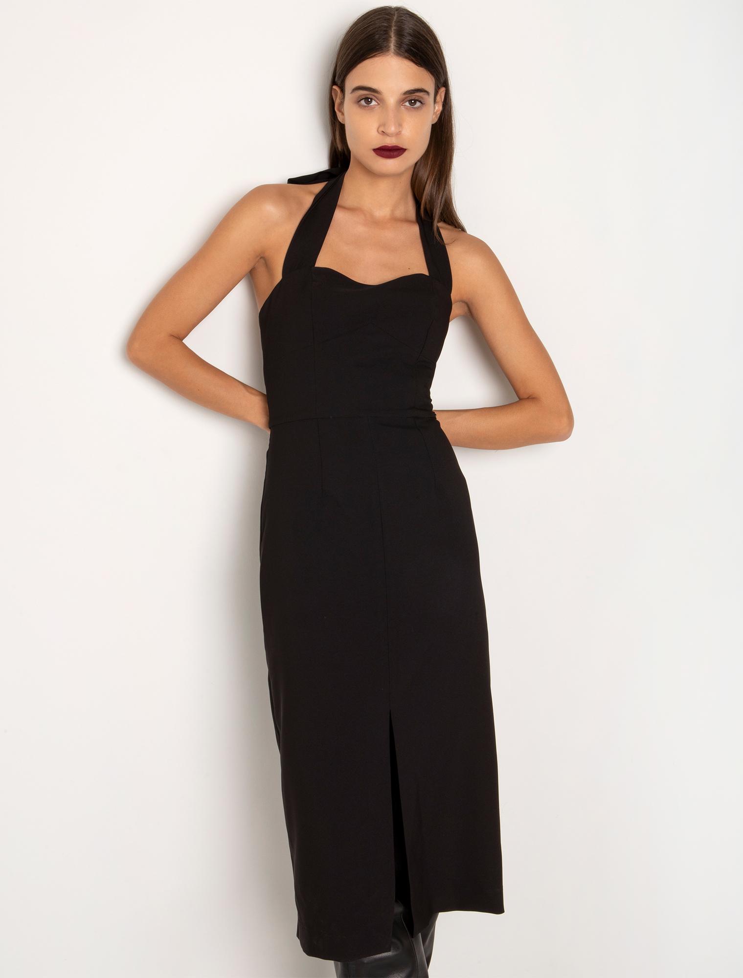Φόρεμα με κορδέλα πίσω από το λαιμό - ΜΑΥΡΟ