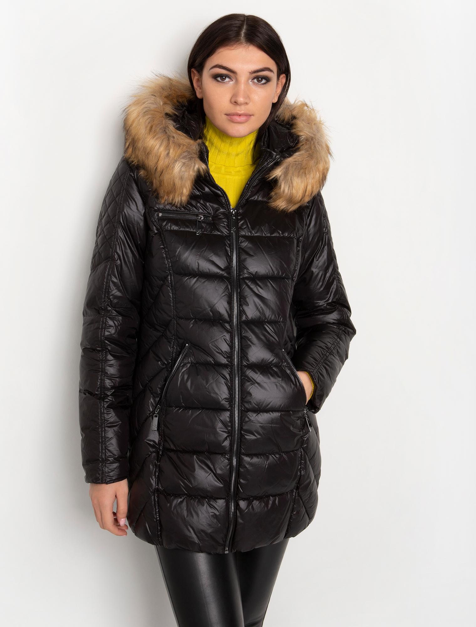 Puffer μπουφάν μακρύ με faux γούνινη κουκούλα - ΜΑΥΡΟ