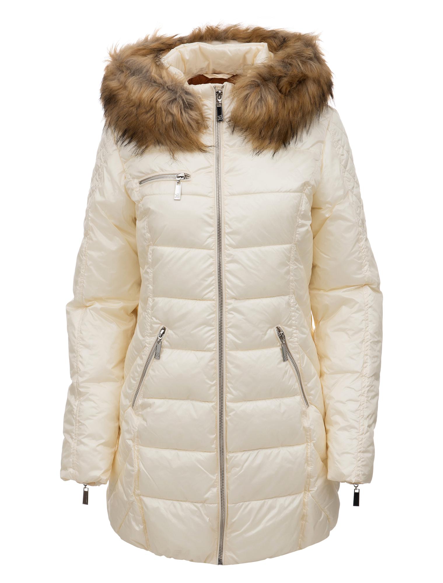 Puffer μπουφάν μακρύ με faux γούνινη κουκούλα - ΙΒΟΥΑΡ