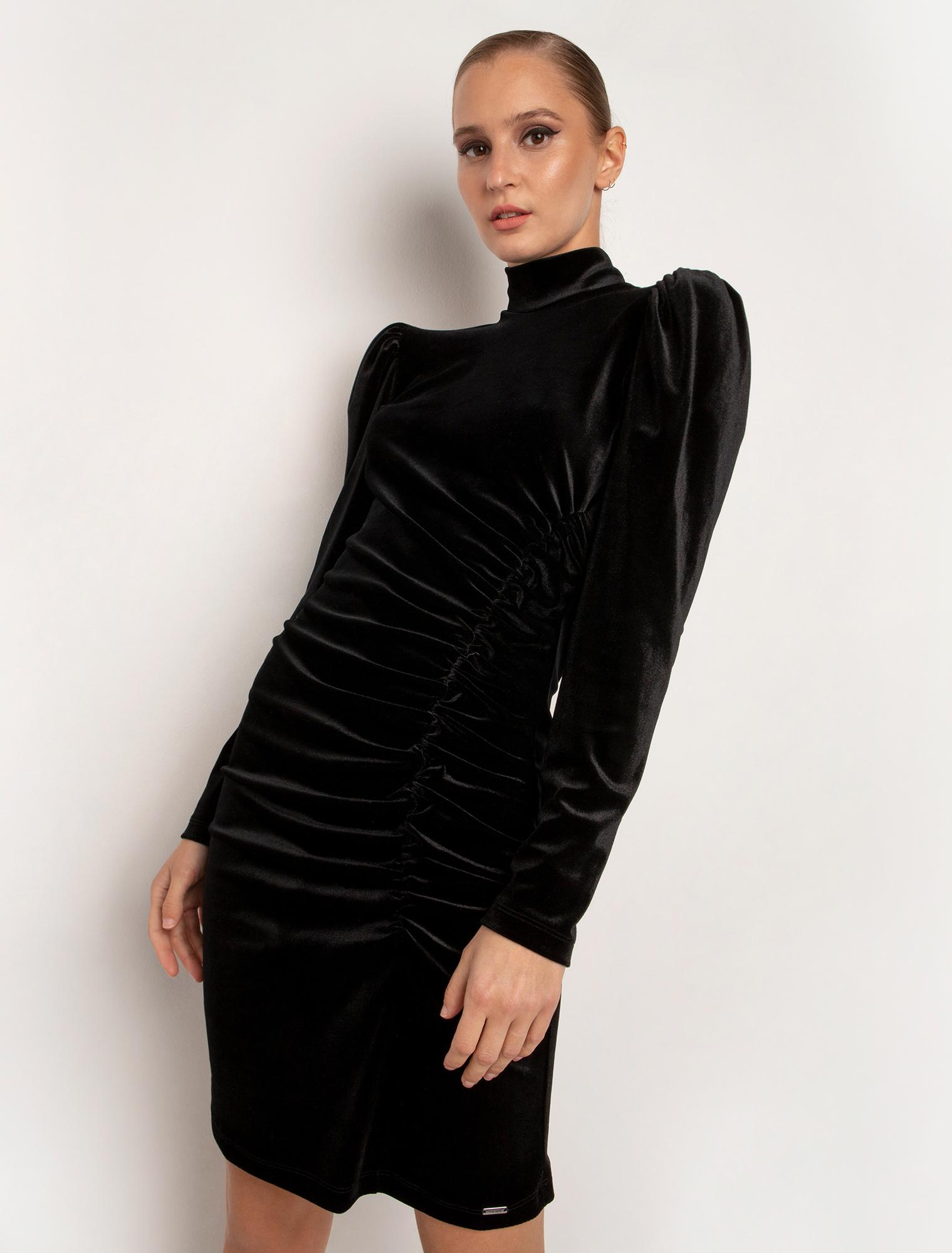 Φόρεμα από βελούδο με σχέδιο σούρες - ΜΑΥΡΟ