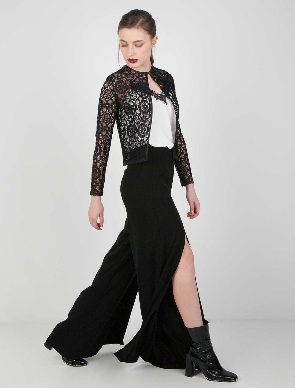 Παντελόνι με άνοιγμα μπροστά - ΜΑΥΡΟ
