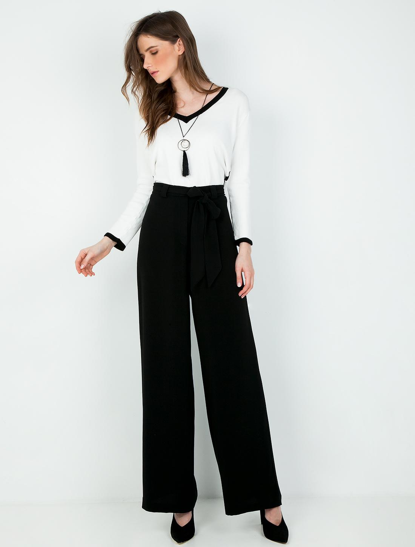 Παντελόνα σε ίσια γραμμή με κορδέλα - ΜΑΥΡΟ