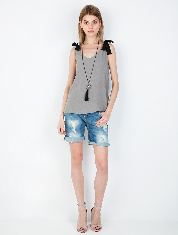 Μπλούζα με κορδέλα - ΓΚΡΙ